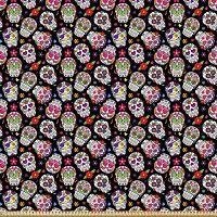 ABAKUHAUS-Microfibra-Decorativa-Manualidades-Multicolor-telas-con-calaveras