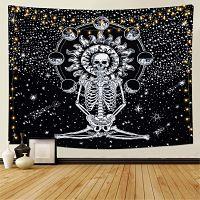 Dremisland-Meditación-Esqueleto-Colgante-Estrellado-tapiz-de-calavera