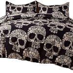 TieNew-Estampado-Personalidad-Esqueleto-Halloween-sábanas-de-cama-con-calaveras