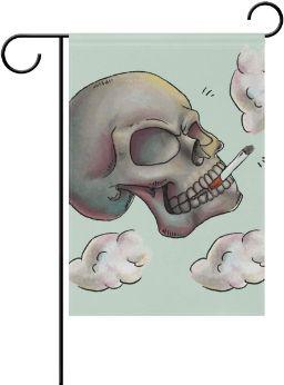 Calavera-Pulgadas-banderín-decoración-poliéster-calavera-fumando